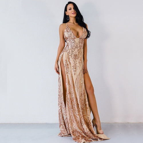 Glisten Closely Gold Metallic Double Split Maxi Dress - Fashion Genie Boutique