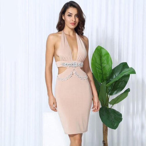 Envy Nude Crystal Embellished Bodycon Mini Dress - Fashion Genie Boutique