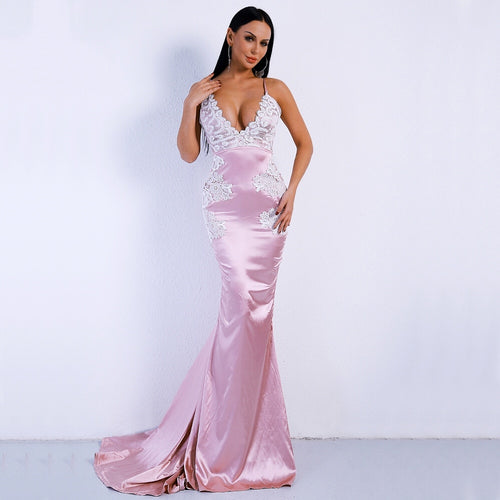 Ever After Pink Satin Lace Backless Fishtail Maxi Dress - Fashion Genie Boutique