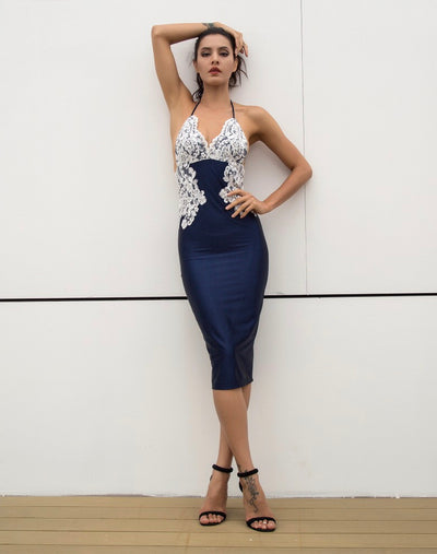 Laced With Love Navy Satin Midi Dress - Fashion Genie Boutique
