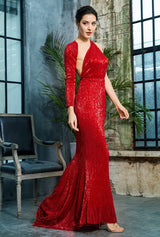 Luxury Night Red Sequin One Shoulder Maxi Gown Dress - Fashion Genie Boutique