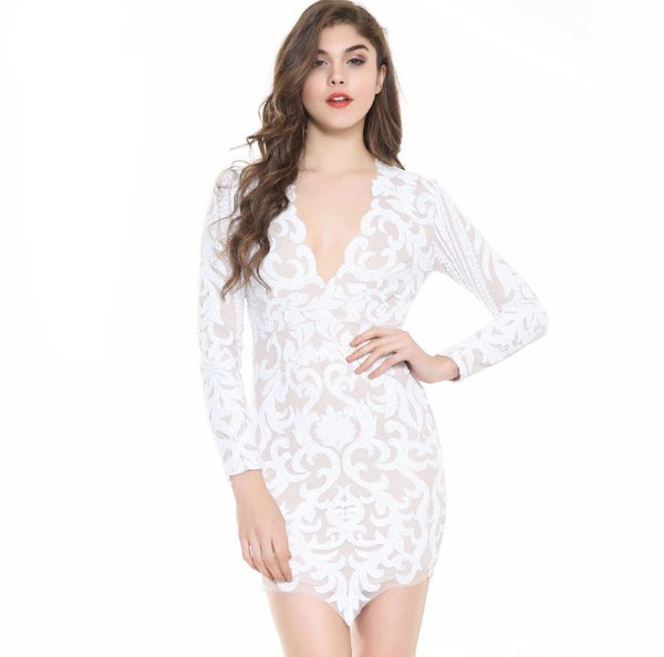 Scarlett White Crochet Long Sleeved Mini Party Dress - Fashion Genie Boutique