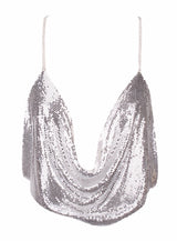 Best Mistake Plunge Silver Metalic Cami Crop Top - Fashion Genie Boutique