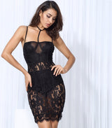 French Fancy Black Lace Mesh Mini Party Dress - Fashion Genie Boutique