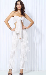Carla White Fringe Trousers & Wrap Crop Top Co-Ord - Fashion Genie Boutique