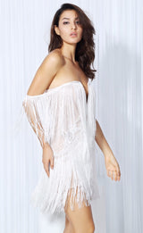Dress for Success White Bardot Fringed Mini Party Dress - Fashion Genie Boutique