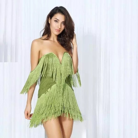 Dress for Success Green Bardot Fringed Mini Party Dress - Fashion Genie Boutique