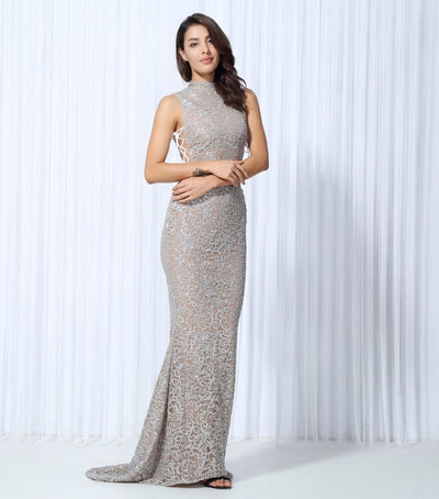 Hopeless Romantic Silver Glitter Lace Fishtail Maxi Party Gown Dress - Fashion Genie Boutique