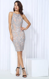 High Life Silver & Nude Sequin Party Dress - Fashion Genie Boutique