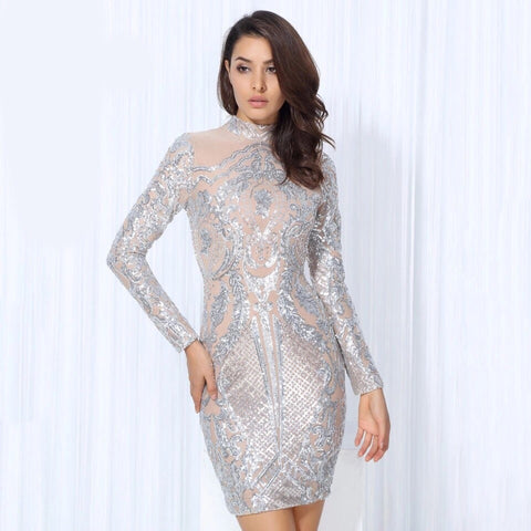 Unpredictable Moments Silver Long Sleeve Sequin Mini Dress - Fashion Genie Boutique