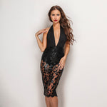All Glam Black Plunge Lace Skirt Bodycon Midi Party Dress - Fashion Genie Boutique