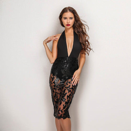 ab66792c All Glam Black Plunge Lace Skirt Bodycon Midi Party Dress Fashion