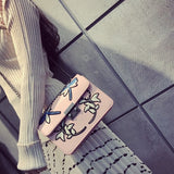 Embroidered Pink Chain Crossbody Handbag - Fashion Genie Boutique