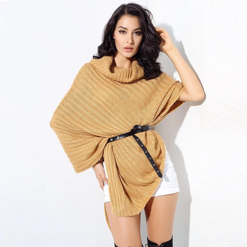 Shantae Yellow Belted Roll Neck Jumper - Fashion Genie Boutique