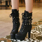 Lady Tan Black Studded Lace-up Round Toe Women's Ankle Boots - Fashion Genie Boutique
