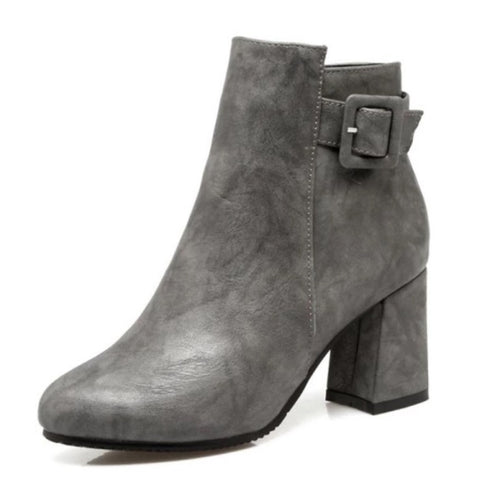 Outta Town Grey Block Heel Ankle Boots - Fashion Genie Boutique