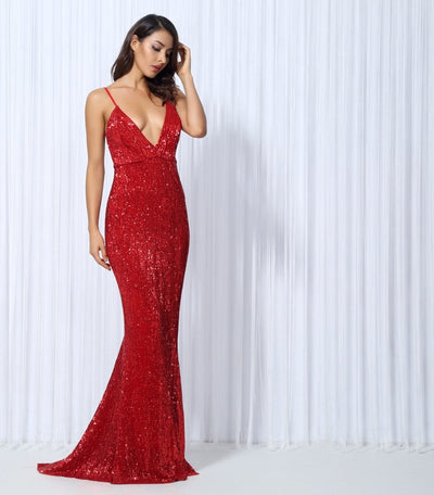 Goal Digger Red Embellished Sequin Maxi Party Gown Dress - Fashion Genie Boutique