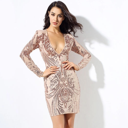Honey Crush Rose Gold Sequin Long Sleeve Mini Dress - Fashion Genie Boutique