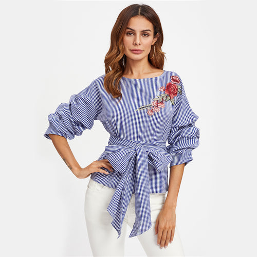 Hanky Panky Blue Tie Embroidered Wrap Front Top - Fashion Genie Boutique