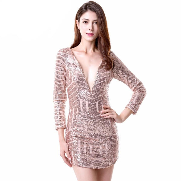 Romance in the City Rose Gold Geometric Sequined Long Sleeved Dress - Fashion Genie Boutique