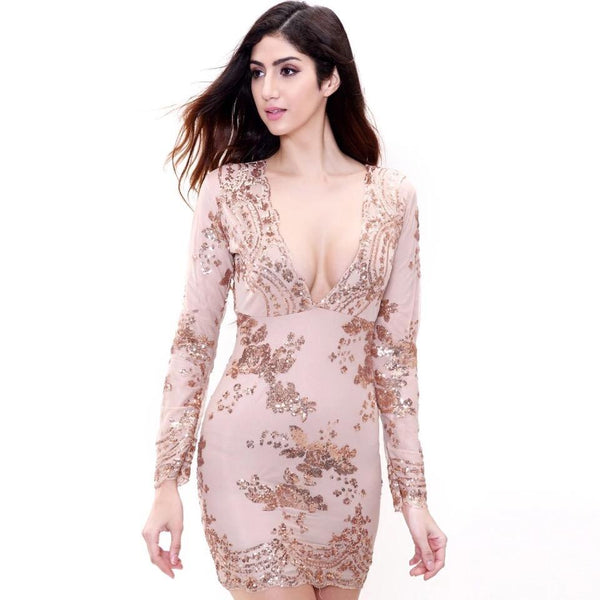 No Surprises Rose Gold Long Sleeved Sequin Mini Dress - Fashion Genie Boutique