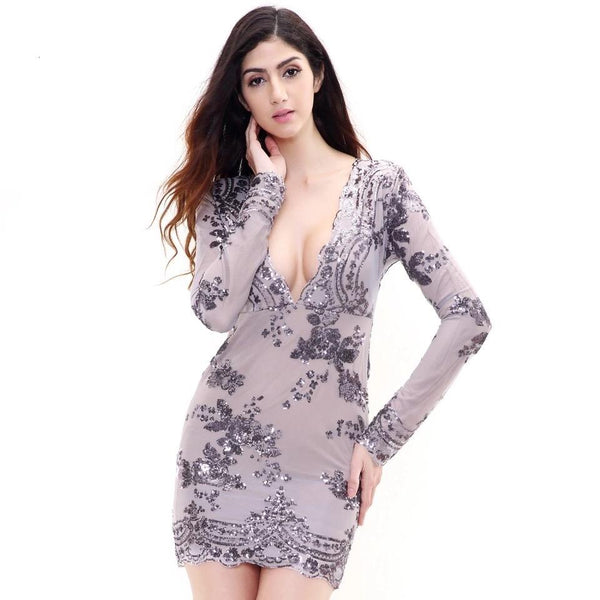No Surprises Lavender Long Sleeved Sequin Mini Dress - Fashion Genie Boutique