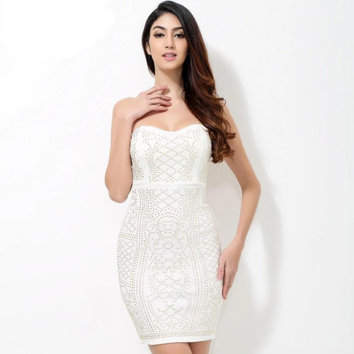 Model Behaviour White Gold Strapless Mini Dress - Fashion Genie Boutique