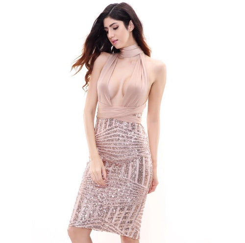 Goddess Rose Gold Plunge Cutout Gold Glitter Party Dress - Fashion Genie Boutique