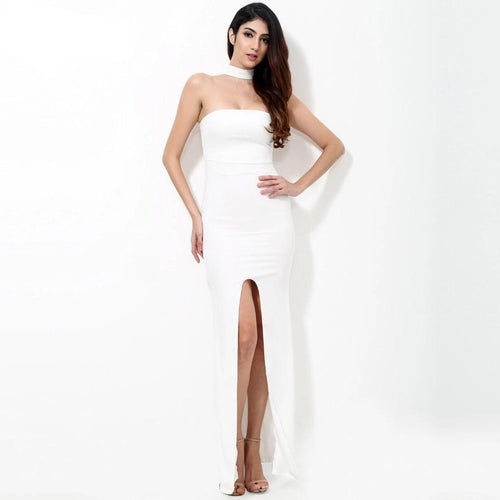Lanchana White Strapless Choker Neck Split Maxi Dress - Fashion Genie Boutique