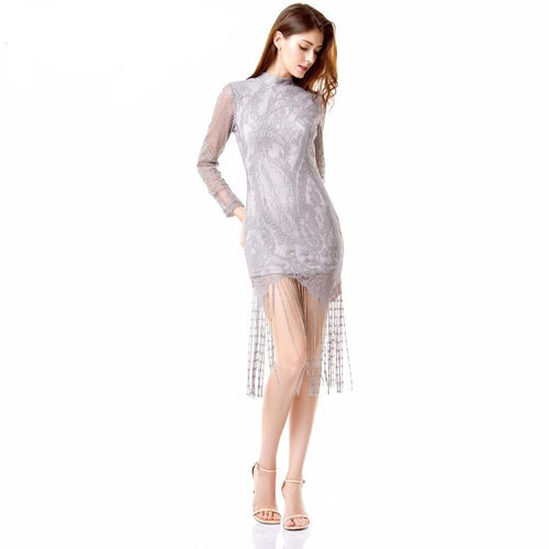 Sweet Like Honey Grey Long Sleeved Fringed Hem Mini Dress - Fashion Genie Boutique