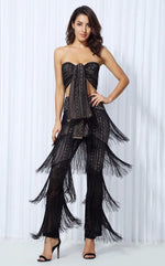 Carla Black Fringe Trousers & Wrap Crop Top Co-Ord - Fashion Genie Boutique