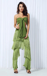 Carla Green Fringe Trousers & Wrap Crop Top Co-Ord - Fashion Genie Boutique