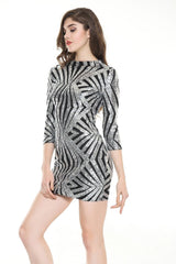 Midnight Wishes Silver & Black Glitter Long Sleeve Mini Party Dress - Fashion Genie Boutique