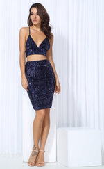 Strut And Slay Navy Sequin Bralet & Mini Skirt Co-Ord - Fashion Genie Boutique