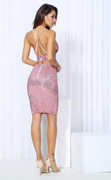 Strut And Slay Pink Sequin Bralet & Mini Skirt Co-Ord - Fashion Genie Boutique