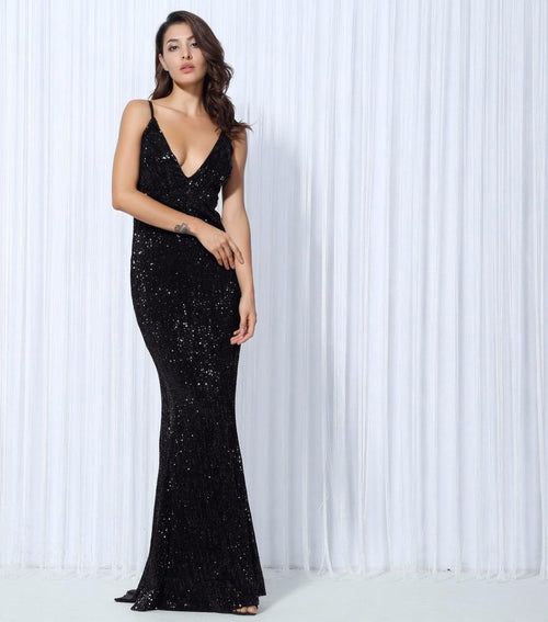 0f14473e304 Goal Digger Black Embellished Sequin Maxi Party Gown Dress - Fashion Genie  Boutique
