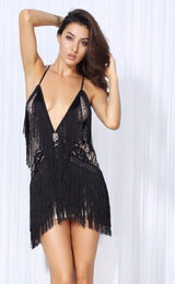 Secret Desire Black Lace Fringed Party Dress - Fashion Genie Boutique