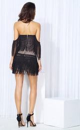 Dress for Success Black Bardot Fringed Mini Party Dress - Fashion Genie Boutique