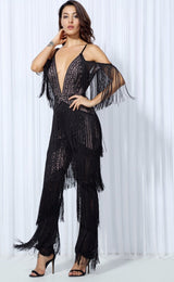 Lasting Impressions Black Deep Plunge Tassel Fringed Jumpsuit - Fashion Genie Boutique