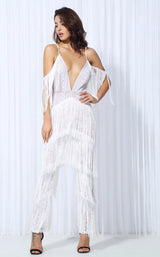 Lasting Impressions White Deep Plunge Tassel Fringed Jumpsuit - Fashion Genie Boutique