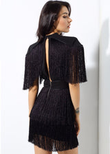 Simple Things Black Fringed Shoulder Mini Dress - Fashion Genie Boutique