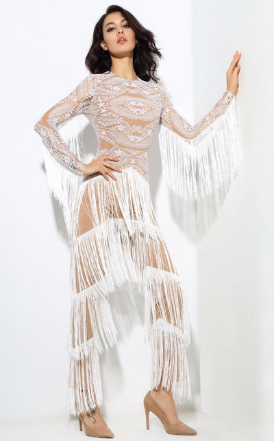 Confessions White Long Sleeved Tassel Fringed Jumpsuit - Fashion Genie Boutique