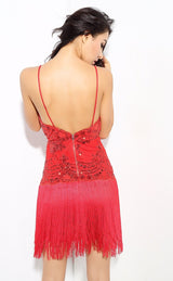 Party Guru Red Sequin Fringed Mini Party Dress - Fashion Genie Boutique