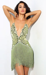 Party Guru Green Sequin Fringed Mini Party Dress - Fashion Genie Boutique