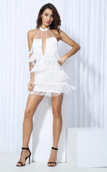 Halter Ego White Fringed Mini Dress - Fashion Genie Boutique