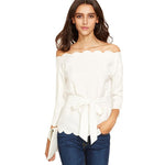 Certain Things White Scallop Bardot Top - Fashion Genie Boutique