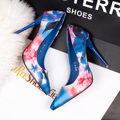 Buttercup Multi Floral Print Pointed Toe Court Shoe - Fashion Genie Boutique