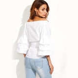 Selfish Girl White Exaggerated Sleeve Surplice Top - Fashion Genie Boutique