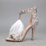 Walking on a Dream Feather Embellished High Heels - Fashion Genie Boutique