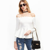 Stand Down White Bardot Peplum Top - Fashion Genie Boutique